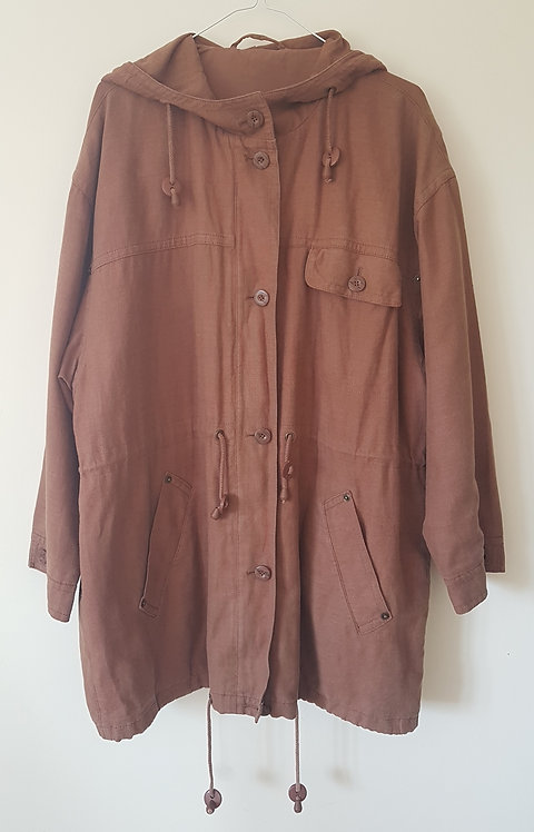 M&S. Brown coat with hood. Size 14.