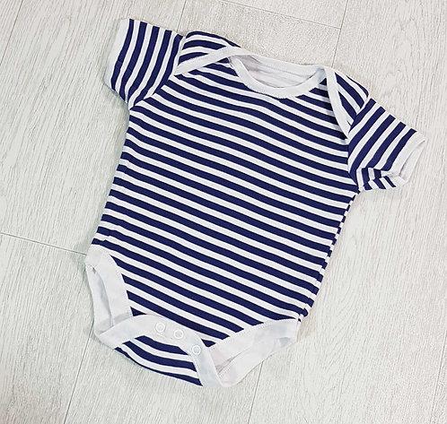 💙George navy/white striped vest 6-9months