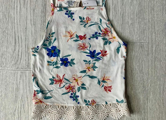 🌻Divided by H&M cream floral crop top. Size XS NWT