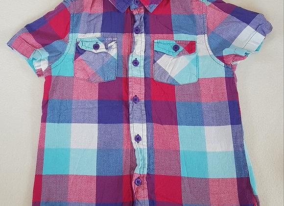 CHEROKEE. Purple patterned short sleeve shirt. Size 7-8 years.