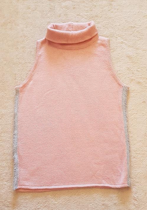 EMPORIO ARMANI Pink knit roll neck vest. 100% Merino wool. Size 12
