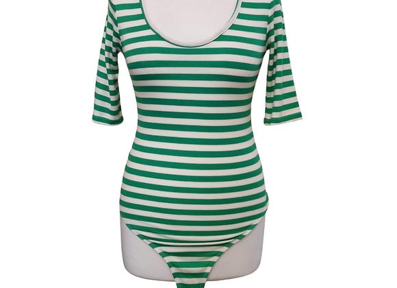 Collusion green striped bodysuit. Uk 10