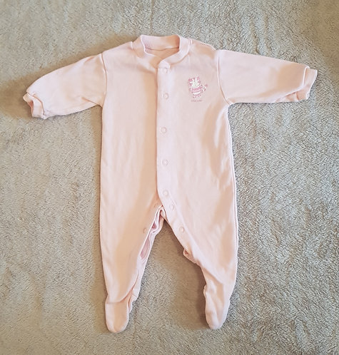 Tesco. Sleepsuit. Pink with cat detail. 0-3 months.