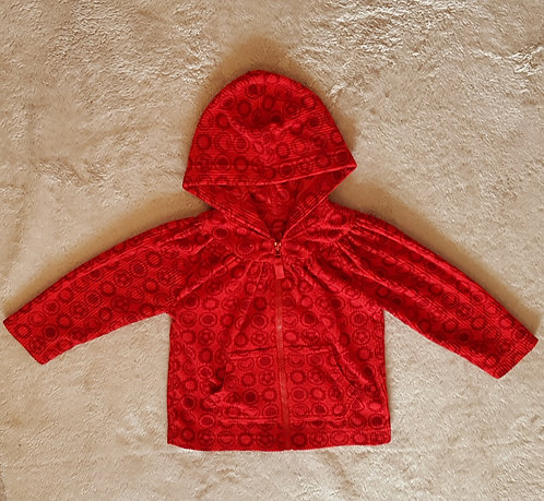 MARKS AND SPENCER Red fleece zip up hoody. 100% polyester 12-18m