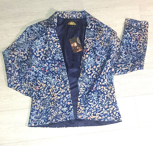 Nancy Mac blue floral jacket. Size 2