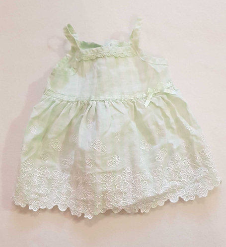 Green and white summer blouse/camisole. With button up back. 0-3m