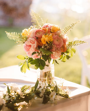 Beautiful yellow and pink bouquet for a bide in Michigan