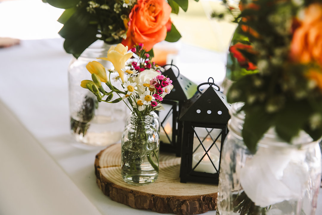 Lakefront tented michigan wedding centerpiece