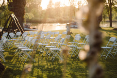 michigan lakefront wedding ceremony caught in the sunglight