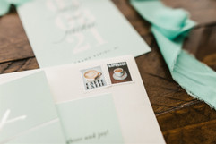 wedding invitations blue and silver, with coffee stamps
