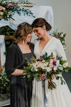 bride and her mother at their spring wedding