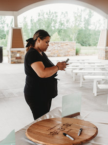 Muse Weddings owner Tascha Amond managing vendors for day of coordination