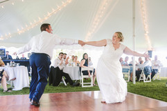 bride and groom active first dance