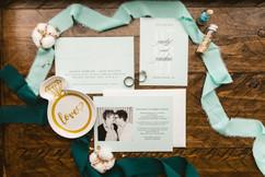 sea glass themed flatlay for michigan wedding