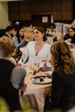 happy bride smiling at her michigan wedding