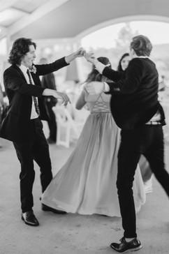 groomsmen dancing at a michigan wedding reception