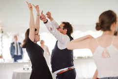 dance party on the dance floor at a michigan wedding