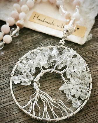 Mala arbre de vie améthyste kunzite opale des Andes rose cristal