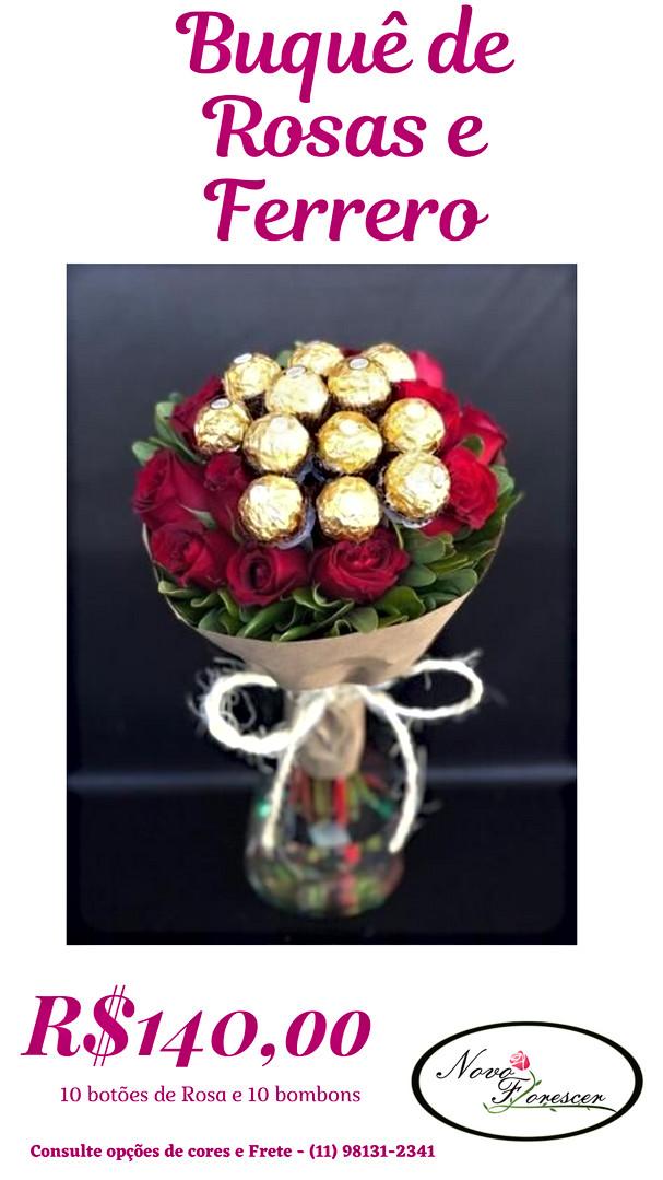 Buquê Rosas e Ferrero