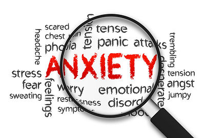 magnifying glass over the word anxiety