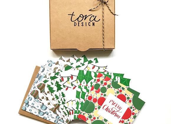 Christmas Card Box of 12- Mixed