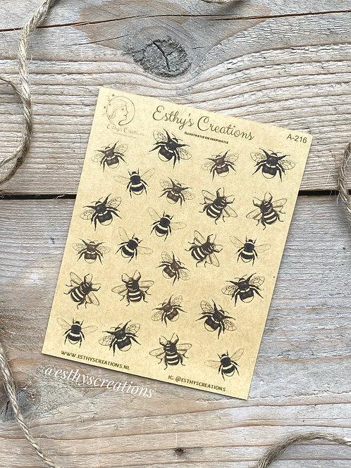Bijen en Hommel kraft stickers
