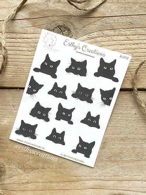 Zwarte katjes stickers