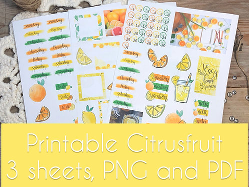 Printable thema Citrusfruit