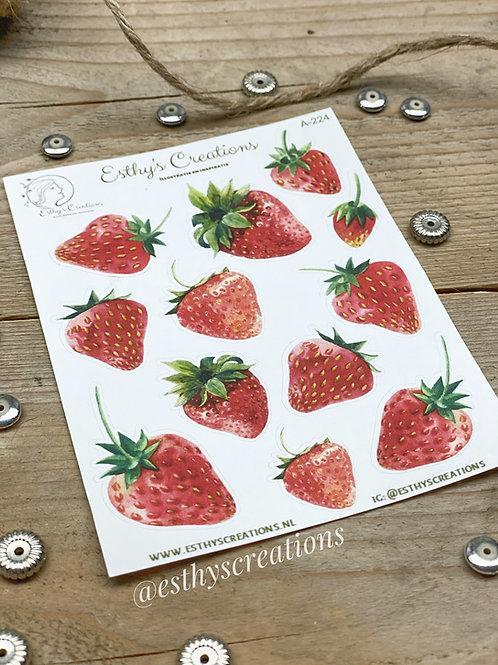 Aardbeien stickers