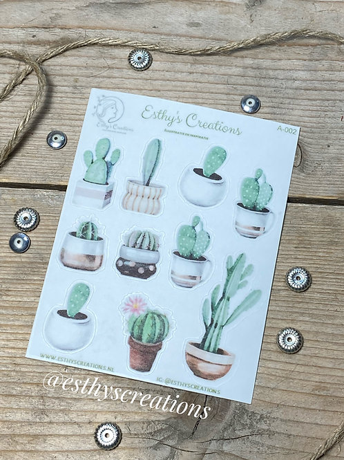 Washi stickers waterverf cactussen - A002