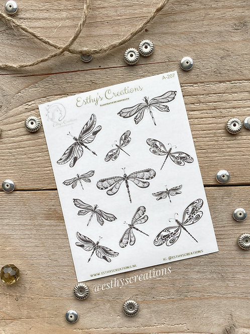 Libelle washi stickers