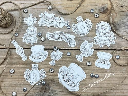 Steampunk diecut washi stickers
