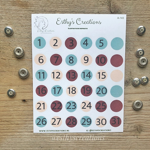 Nummer stickers | Magenta | Turquoise | Zalm kleurig | Bulletjournal stickers |
