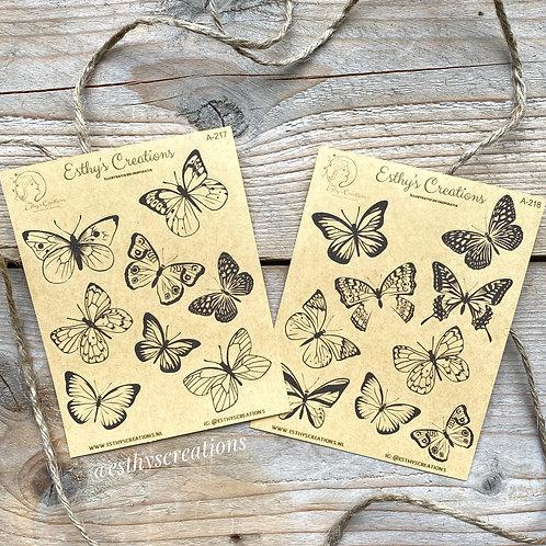 Set Vlinder kraft stickers