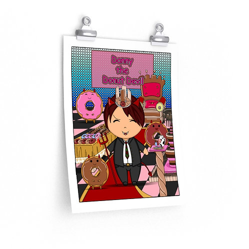 Premium Matte vertical posters - Kawaii-style Danny the Donut Devil