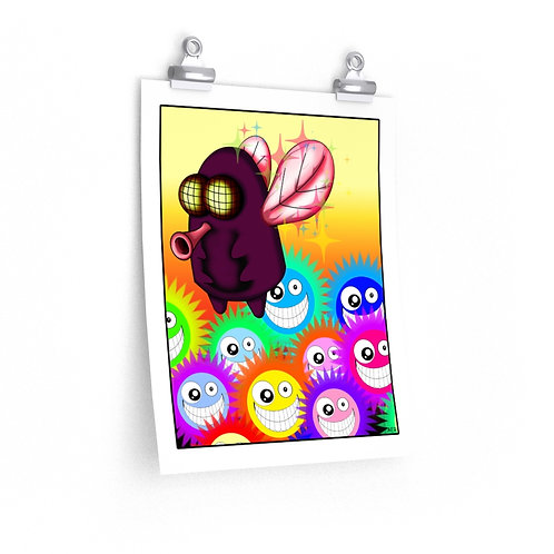 Premium Matte vertical posters - Kawaii-style Fly w/Flowers
