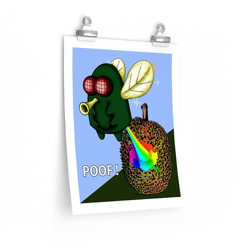 Premium Matte vertical posters - Kawaii-style Fly Farting on Durian