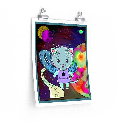 Premium Matte vertical posters - Kawaii-style Space Alien Kitty