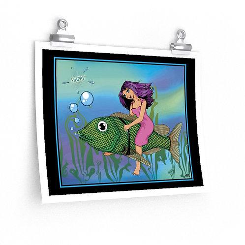 Premium Matte horizontal posters - Happy Fish