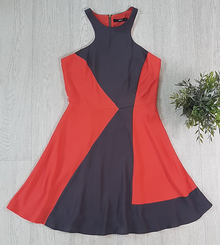 🏴OASIS. Coral and grey halterneck dress. Zip up back. Size 10