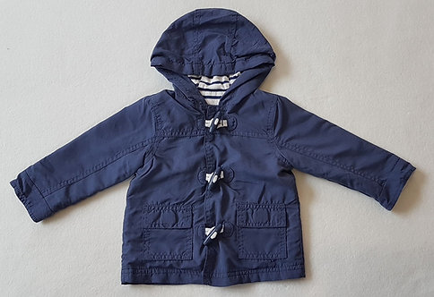 George. Navy button up and velcro coat. Size 3-6 months.