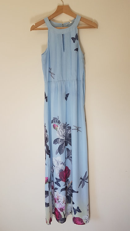 🏴UTTAM BOUTIQUE. Blue halter neck maxi dress. Size 10