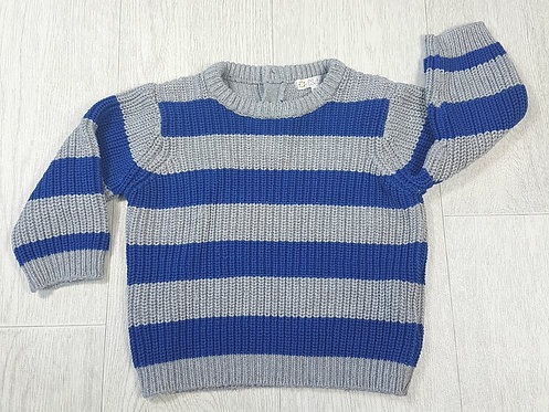 🏴KITCHOUN. Blue and grey striped knitted jumper. Buttons at back. Age 12 months