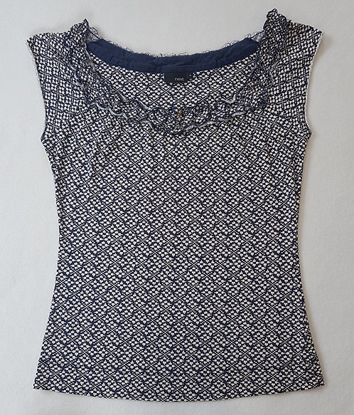 🏴NEXT. Navy and cream patterned short sleeve top. Size 10.