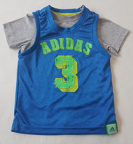 ADIDAS. Grey short sleeve top with blue vest attached. Age 2-3 years