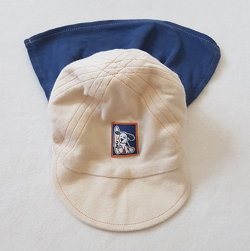 Cream and navy sun hat. Neck shade rolls up. 0-6 months