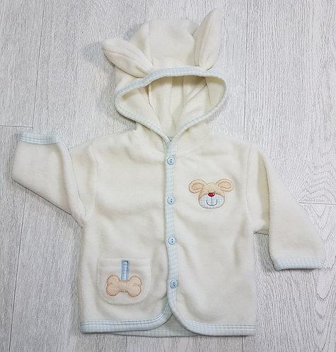 🏴Cream fleece cardigan with hood. Ears on hood. Age 6 months.