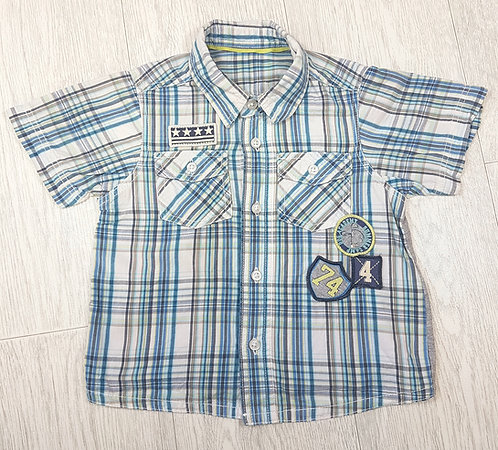 🏴MATALAN. White and blue checkered short sleeve shirt. Age 9-12 months