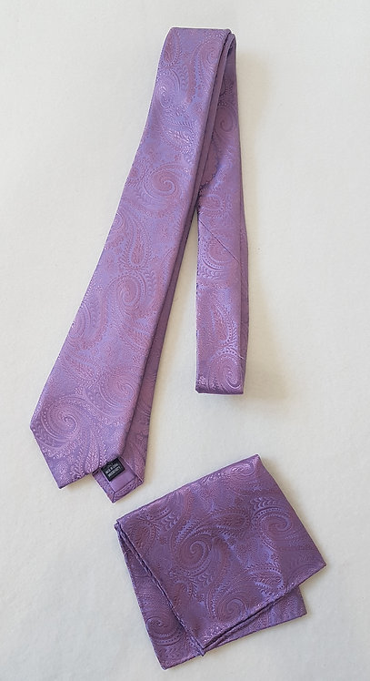 🏴MOSS BROS. Purple patterned tie and pocket square set.