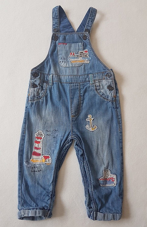 NEXT. Denim sea themed dungarees. Age 12-18 months.